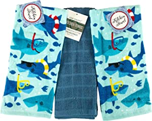 Baby Sharks Kitchen Dish Hand Towels: Novelty Summer Velour with Cute Sharks Playing in The Water