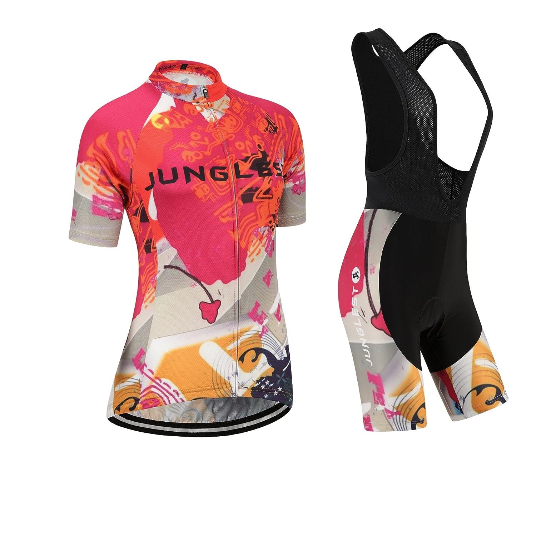 Cycling Jersey Setレディース半袖( S ~ 5 X L、オプション:よだれかけ、3dパッド) n242 B01BX2QI22  種類: セット(ブラック前掛け) (General pad)(Bust 43-45inchs)