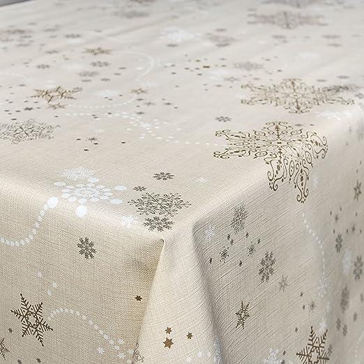 Mantel de hule, lavable, estilo de Navidad con copos de nieve ...