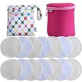 Baby Bliss Premium-Stilleinlagen Waschbar | Luxus-Set: 14er-Pack + Wäschezylinder + Reisebeutel | Extra Weich, Super Saugstark und Auslaufsicher | Wiederverwendbar, Atmungsaktiv und sanft zur Haut