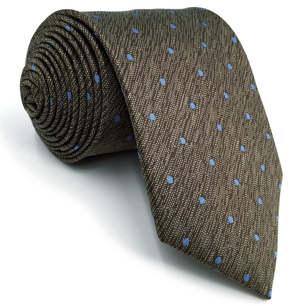 shlax&wing Marrón Azul Puntos Tie Set Corbatas Para Hombres Seda ...