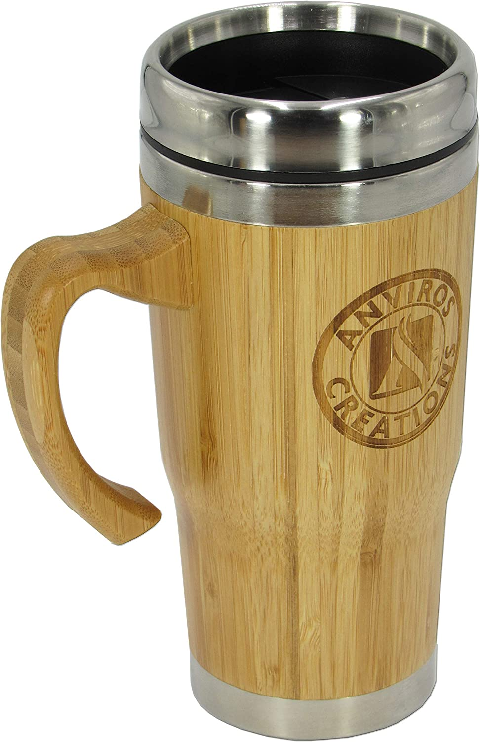 ANVIROS Bamboo Travel Mug Tumbler Thermos with Handle for Coffee, Tea, Brew Hot Cold Beverage  Splash- Proof  Natural Eco-Friendly Easy Clean Beautiful Gift Ready  Stainless-Steel Leak-Proof 16 oz