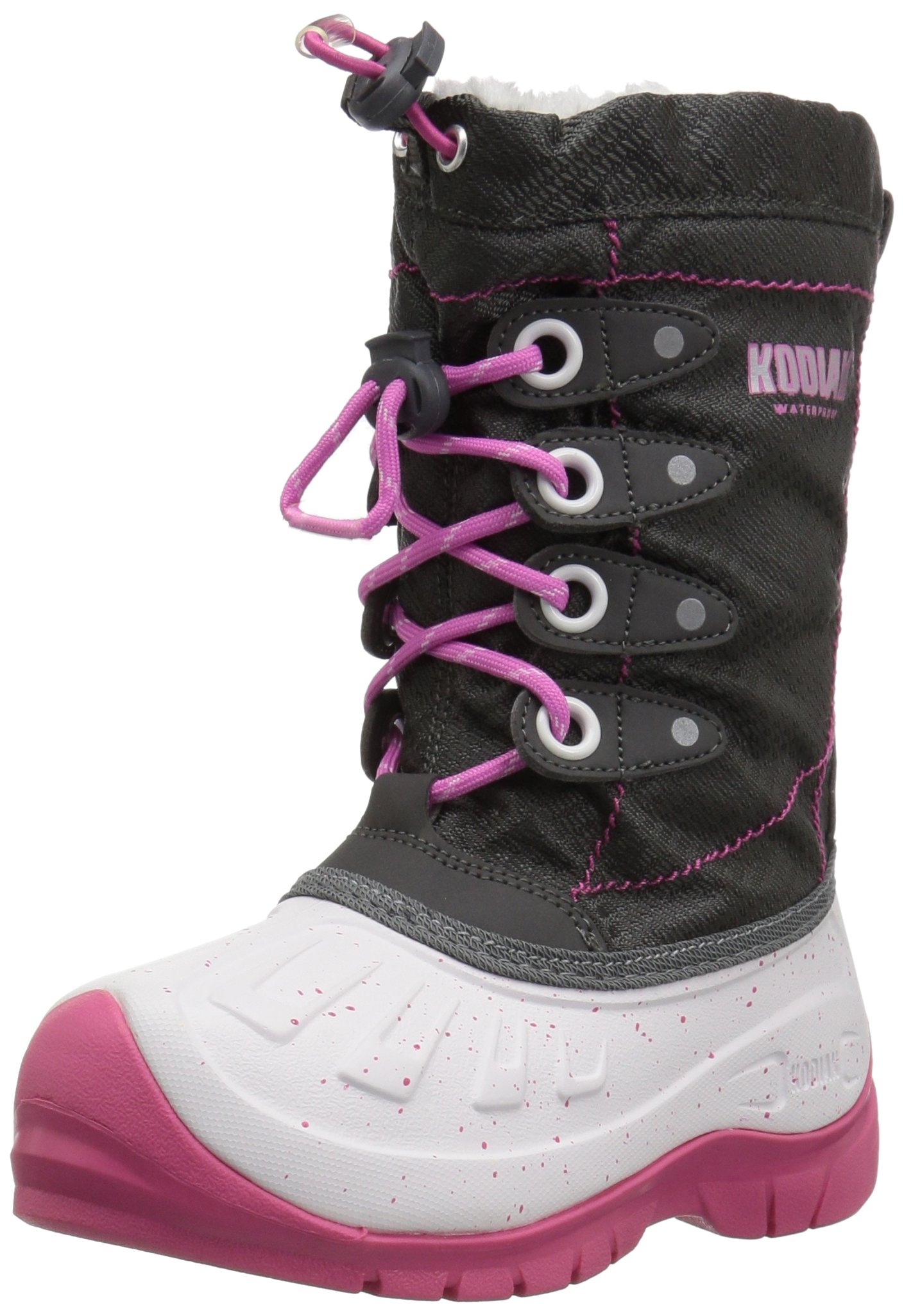 Kodiak Girls' Cali Snow Boot, Grey/White/Cotton Candy Pink, 13 M US Little Kid