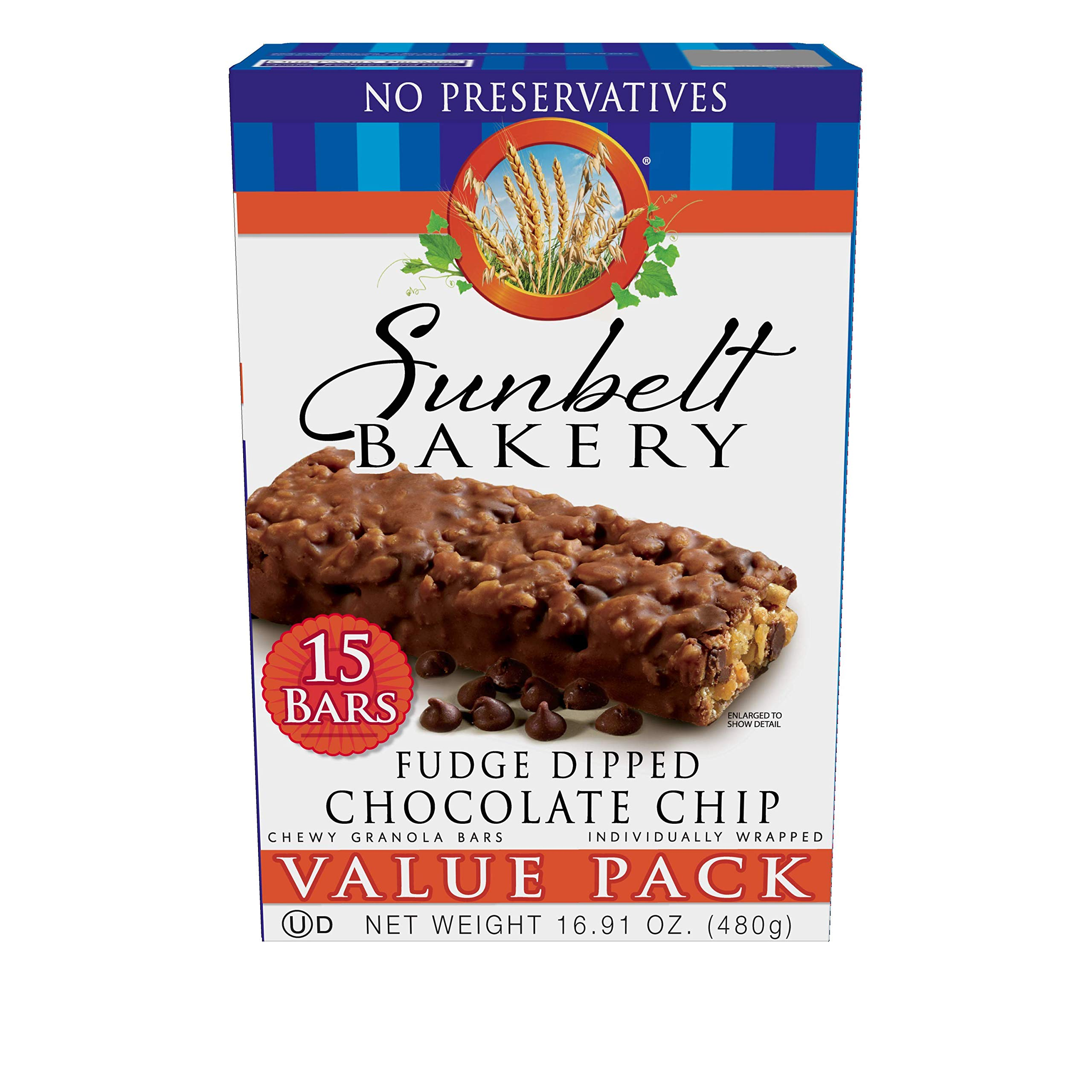 Sunbelt Bakery Fudge Dipped Chocolate Chip Granola Bars, 1.2 oz Bars, 30 Count