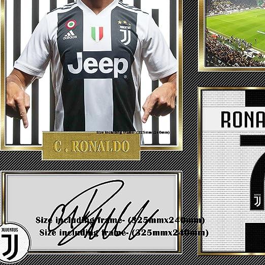 S&E DESING Cristiano Ronaldo Juventus - autógrafo con Foto firmada, Enmarcado Ronaldo: Amazon.es: Deportes y aire libre