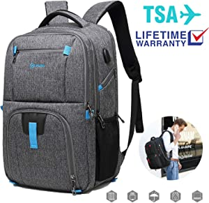 Laptop Backpack 17 inch Laptop Backpacks, Slim Laptop Backpack with Large Capacity, Laptop Backpack for Women with Pockets, Waterproof USB Backpack for Business/Travel/School (Grey-3)
