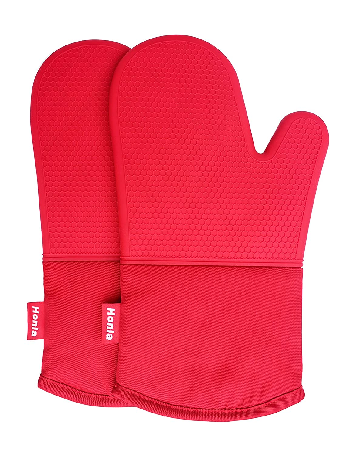 Honla Silicone Oven Mitts - Heat Resistant to 500° F,1 Pair of Non-Slip Kitchen Oven Gloves for Cooking,Baking,Grilling,Barbecue Potholders,Red