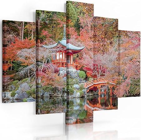 Feeby Frames, Cuadro en Lienzo - 5 Partes - Cuadro impresión, Cuadro decoración, Canvas (JARDÍN JAPONÉS, Rojo) 150x100 cm, Tipo A: Amazon.es: Hogar