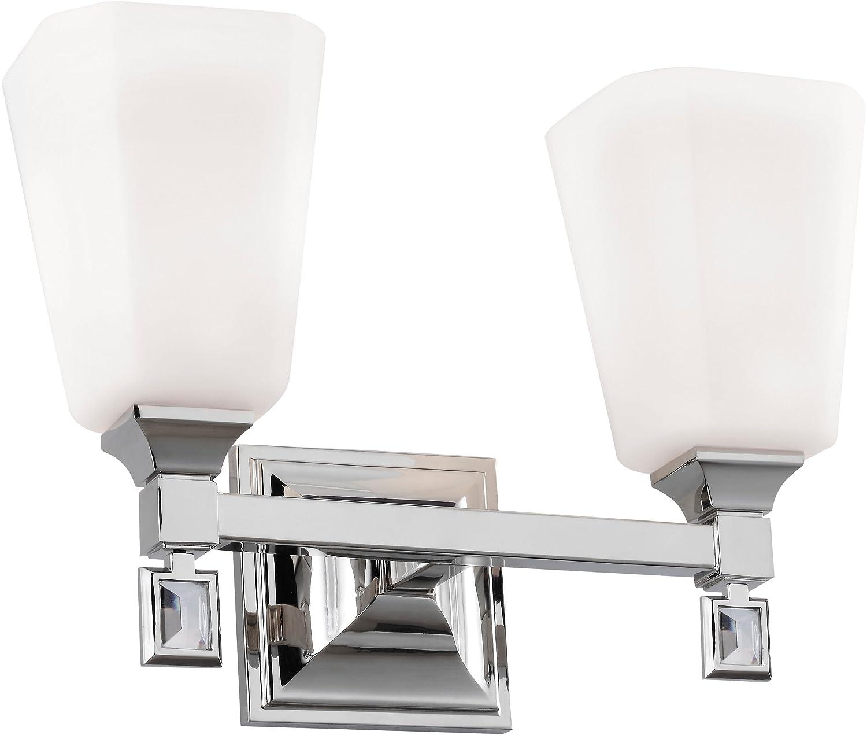 Feiss VS47002-PN Sophie Glass Wall Vanity Bath Lighting, Chrome, 2-Light 14 W x 10 H 200watts
