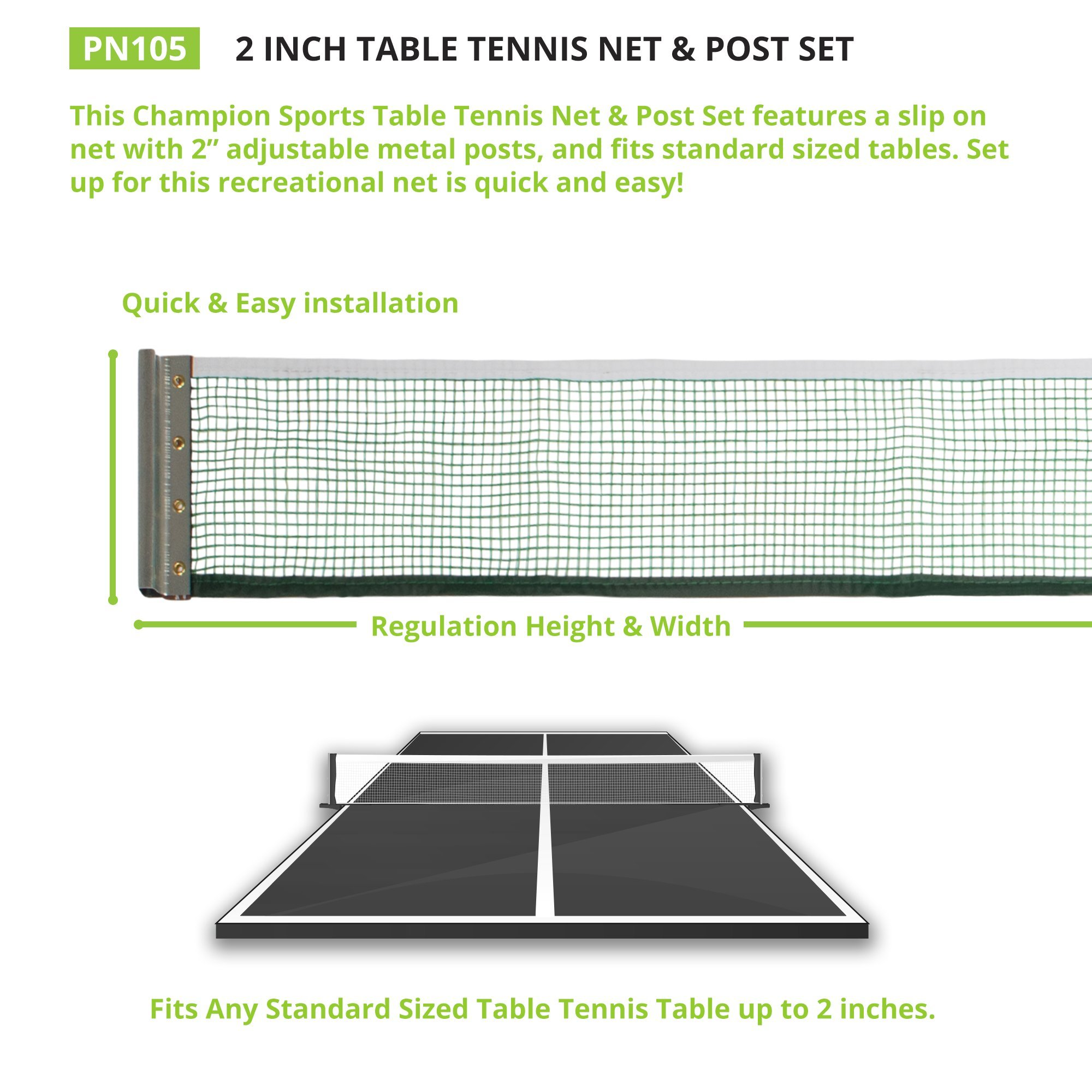 Champion Sports Table Tennis Net & Post Set, 2'' by Champion Sports