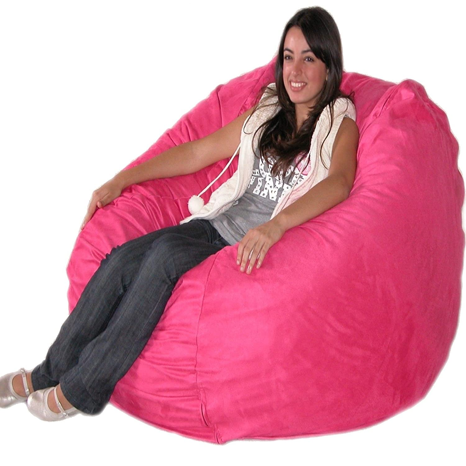 Amazon Cozy Sack 4 Feet Bean Bag Chair Large Hot Pink Kitchen Dining