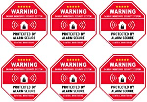 Authentic Home Security, Red Octagon-Shaped, 3.3 X 3.3 Inch Vinyl Decal - Door & Window Stickers, UV Protected & Waterproof - 6 Labels