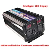 luyuanIPower 3000W (6000W Peak) POWER INVERTER DC 12V TO AC 230V WITH SOFT START, VOLTAGE DISPLAY CAR CARAVAN CAMPING BOAT