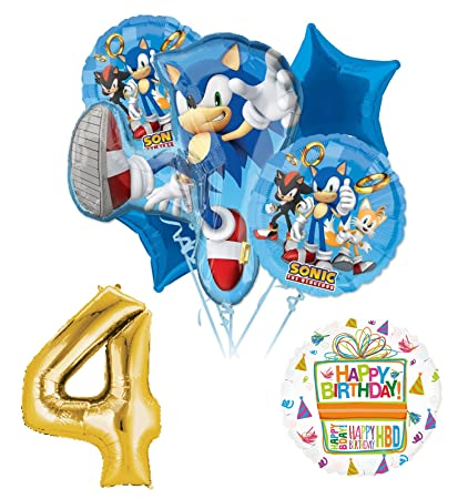 Image Unavailable Not Available For Color Sonic The Hedgehog 4th Birthday Party Supplies And Balloon Decorations