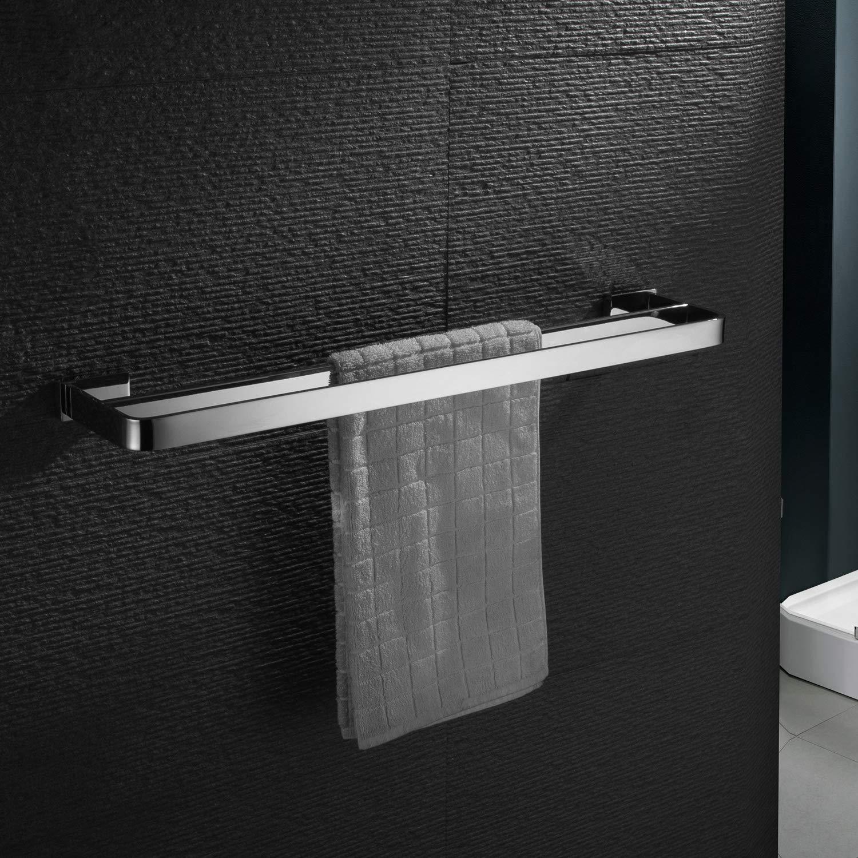 ZUNTO Spiegel Chrom Handtuchhalter Edelstahl Doppelt Badetuchhalter 60cm Handtuchstange Wandmontage Poliert Finish