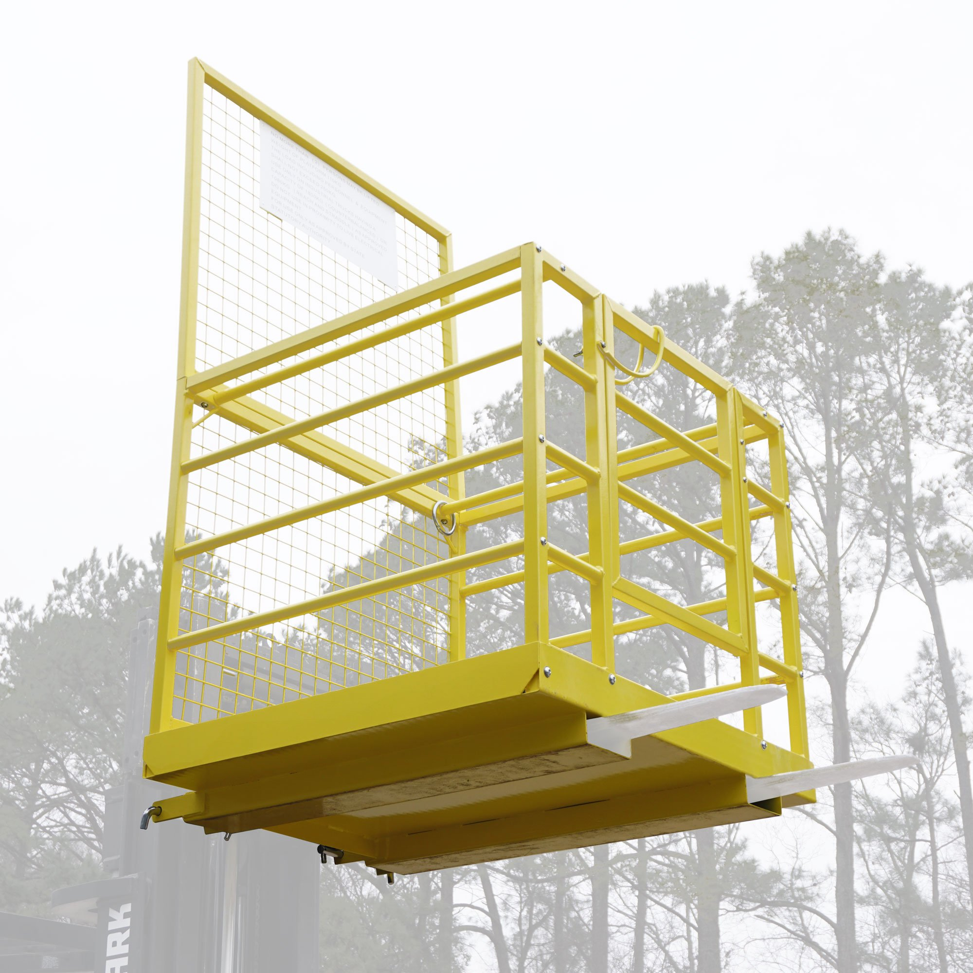 Forklift Safety Cage Work Platform Lift Basket Aerial Fence Rails Yellow 2 man by Titan Attachments (Image #6)