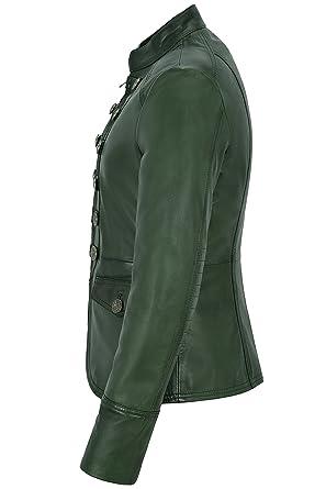f1f41f262fc Smart Range Chaqueta de Cuero para Mujer Verde Victory Desfile Militar  Style Real Soft Lambskin 8976  Amazon.es  Ropa y accesorios