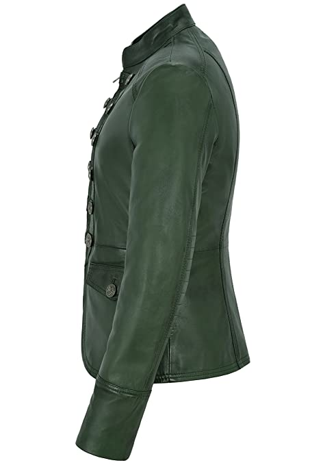 Victory Ladies Dark Green Military Parade Style Soft Real Nappa Leather Jacket 8976 at Amazon Womens Coats Shop