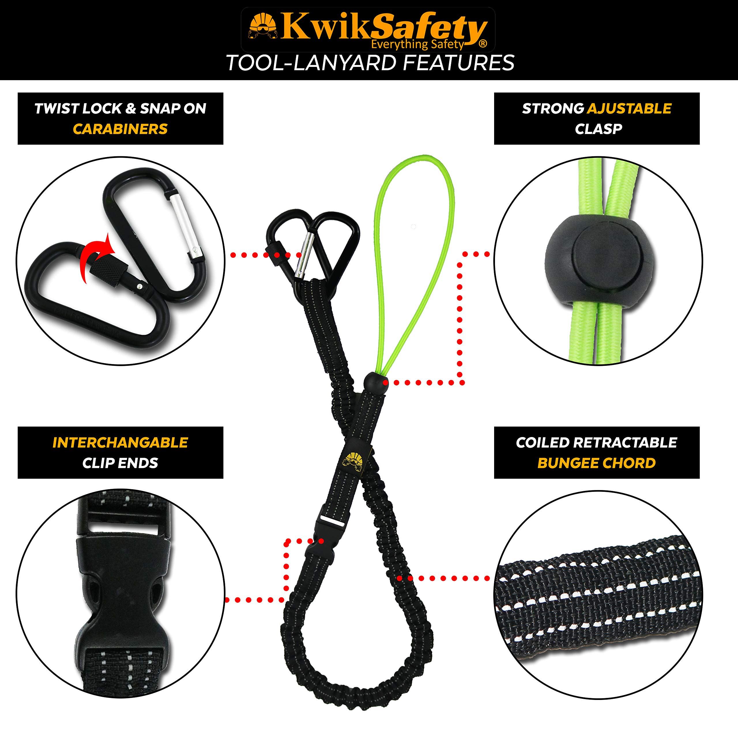 KwikSafety (Charlotte, NC) THUNDER KIT | 3D Full Body Safety Harness, 6' Lanyard, Tool Lanyard, 3' Cross Arm Strap Anchor ANSI OSHA PPE Fall Protection Arrest Restraint Construction Roofing Bucket by KwikSafety (Image #6)