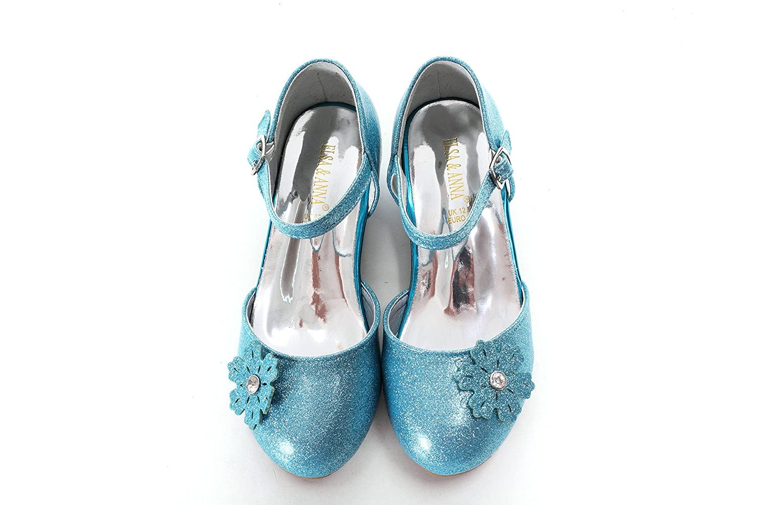 UK ELSA & ANNA® Girls Top Quality Latest Design Princess Snow Queen Wedged Party Shoes Sandals BLU11-SH UK1stChoice-Zone