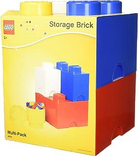 LEGO Storage Brick Multi Pack (4 Piece), Bright Red/Bright Blue/