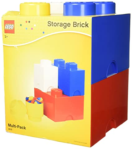 LEGO Storage Brick Multi Pack (4 Piece), Bright Red/Bright Blue/
