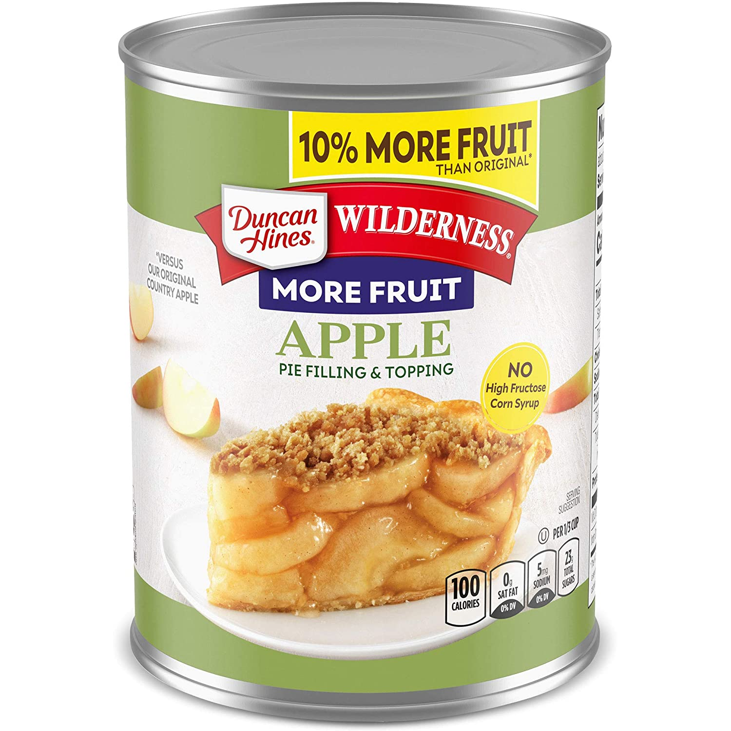 Duncan Hines Wilderness More Fruit Pie Filling & Topping, Apple, 21 Ounce (Pack of 12)