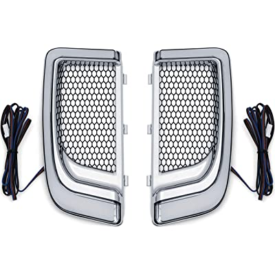 Kuryakyn 5063 Motorcycle Lighting Accessory: Tracer LED Running Light/Turn Signal Fairing Lower Grills for 2014-20 Harley-Davidson Motorcycles, Chrome, 1 Pair: Automotive