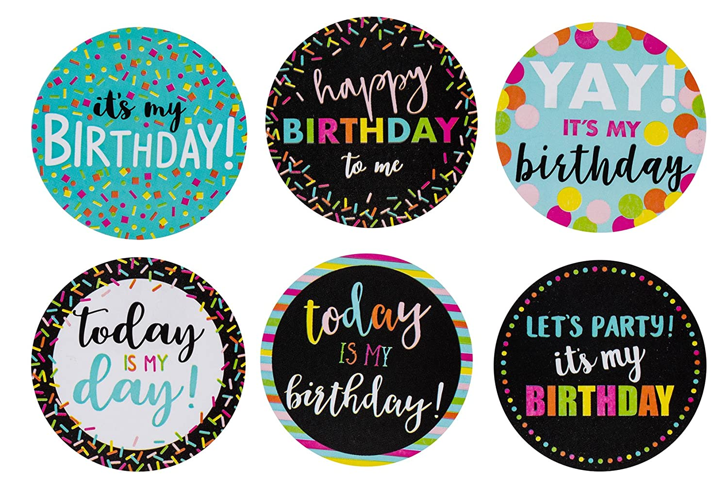 Amazon com happy birthday stickers 504 piece round birthday label set stickers roll with 6 assorted designs birthday party favors 2 x 2 inches arts