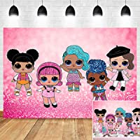 Surprise Girl Birthday Party Banner Decoration Photography Backdrop Sweet Hot Pink Bokeh Sequin Baby Girl Doll Toy Photo…