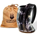 Norse Tradesman Genuine Viking Drinking Horn Mug - 100% Authentic Beer Horn Tankard w/ Rosewood Bottom and Burlap Gift Sack | 24 Ounces | The Original""