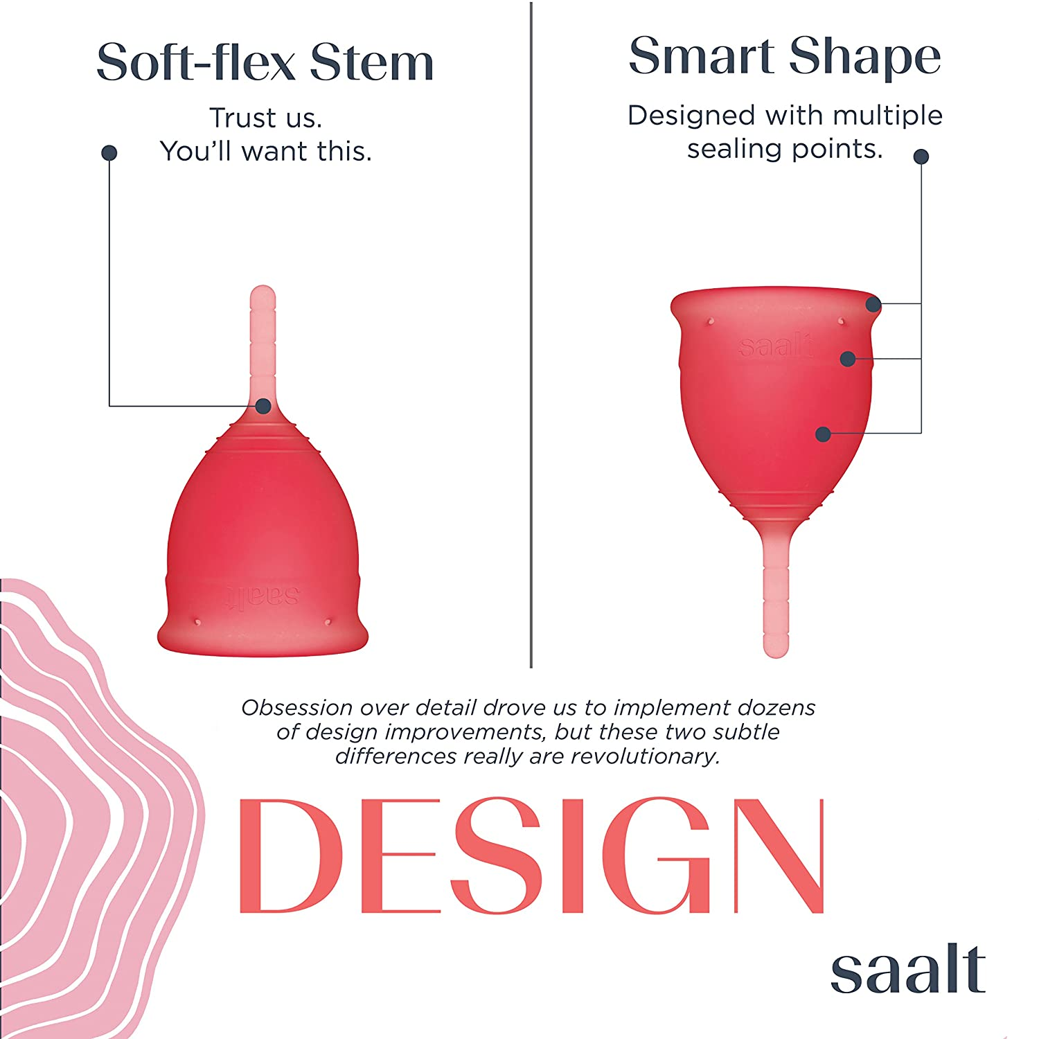 Saalt Menstrual Cup - Premium Design - Most Comfortable Period Cup - #1  Active Cup - Wear for 12 Hours -