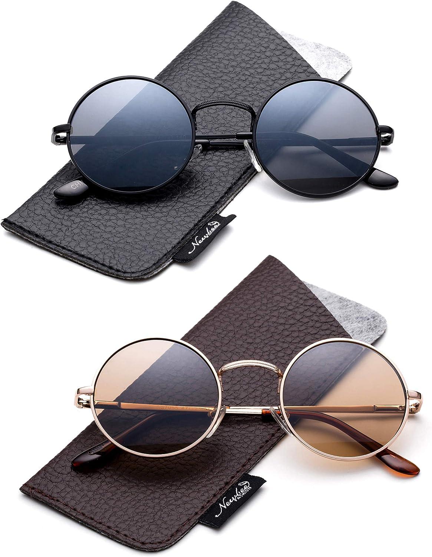 2 PAIR John Lennon Vintage Classic Circle Round Sunglasses Men Women PINK Blue n