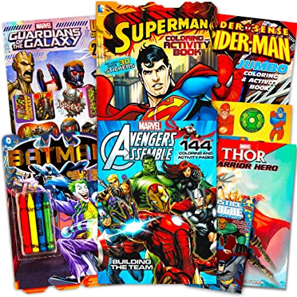 Superhero Giant Coloring Book Assortment 7 Books Featuring Avengers Justice League Batman