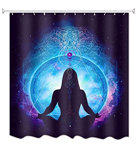 A.Monamour Azul Fondo Cósmico Espacio Mujer Yoga Meditación Temática Tela Poliéster Impermeable Zen Ducha Cortina para Baño Art Decors 150X180 CM / ...