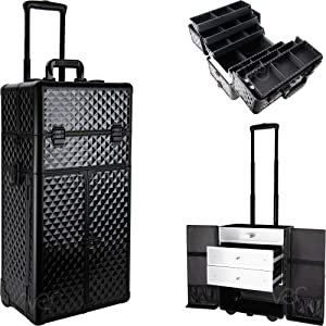 SUNRISE Makeup Case on Wheels 2 in 1 Professional Trolley I3466, French Doors, 6 Trays and 2 Drawers, Adjustable Dividers, Locking with Mirror and Shoulder Strap, Black Diamond