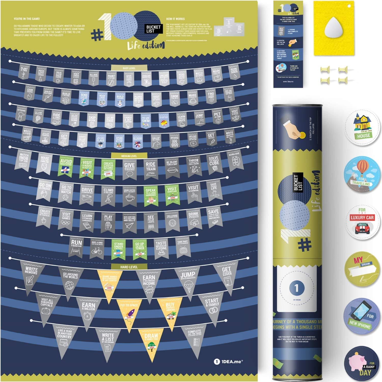 Life Bucket List Ideas 1DEA.me Scratch Off Poster #100 Bucket List Life Edition 16x24in