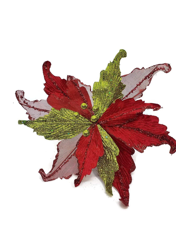 Mark Roberts 13インチ レッド グリーン ベル ポインセチア クリスマス デコレーション - クリスマス ポインセチア B07H7341NL