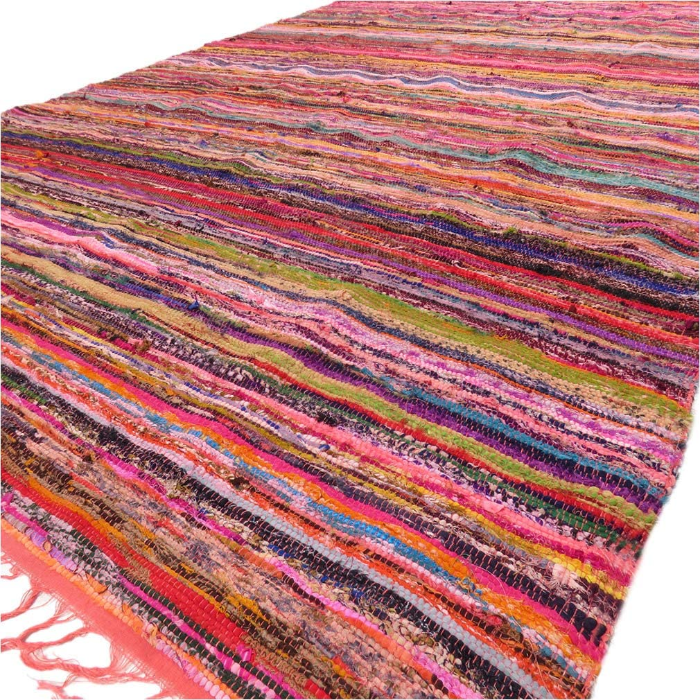 3X5 to 5X8 ft Colorful Decorative Chindi Woven Tassel Area Rag Rug Bohemian Acc