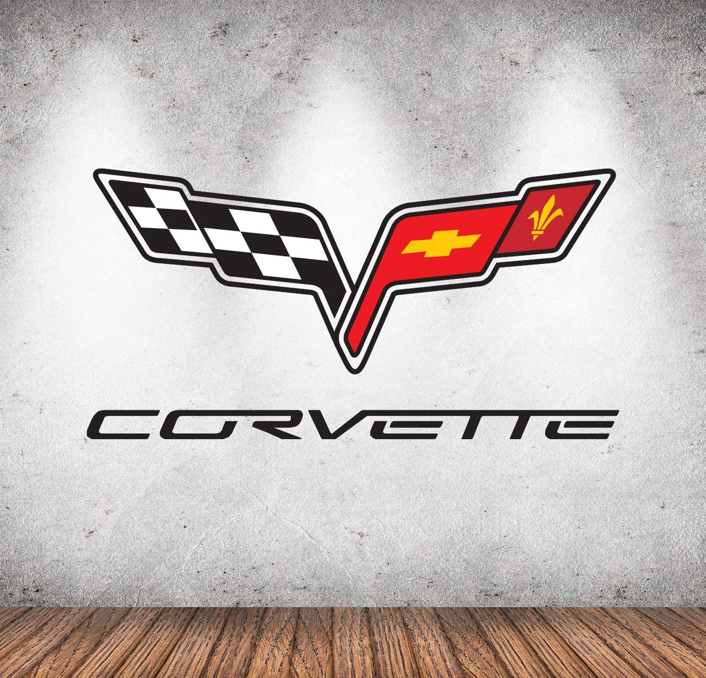 Racing Car Symbol Wall Art Corvette Wall Decals Classic Emblem C6 Custom Fan Cars Room Garage Wall Decor Removable Vinyl Wall Stickers Gift