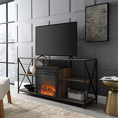 Walker Edison Industrial Farmhouse Metal X and Wood Universal Fireplace Stand with Open Shelves TV s up to 64 Flat Screen Living Room Storage Entertainment Center, 60 Inch, Reclaimed Barnwood Brown