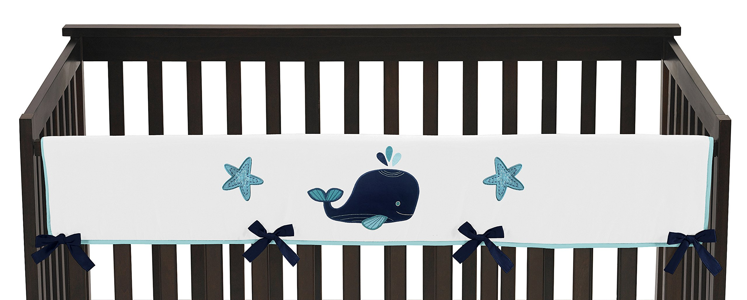 Sweet Jojo Designs Blue Whale Collection Long Front Rail Guard Baby Teething Cover Crib Protector Wrap