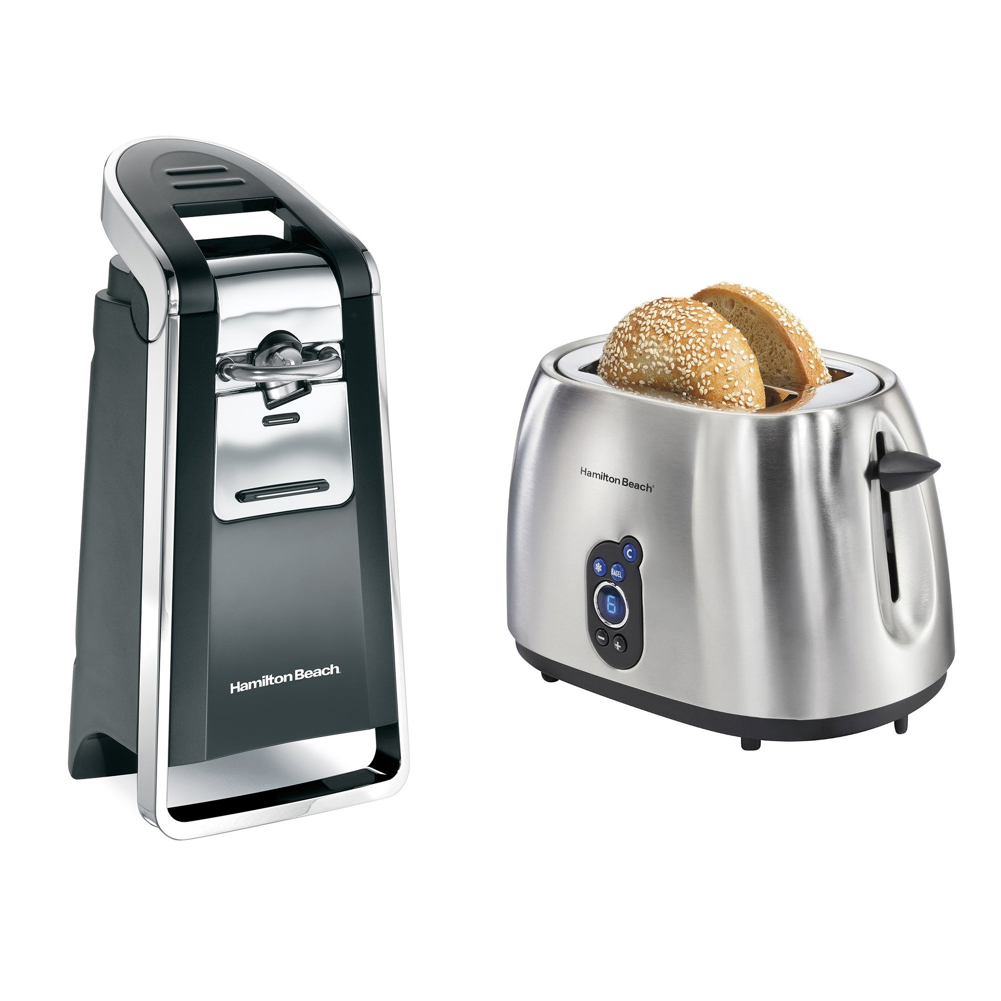 Hamilton Beach Easy Touch Electric Can Opener + 2-Slice Stainless Steel Toaster