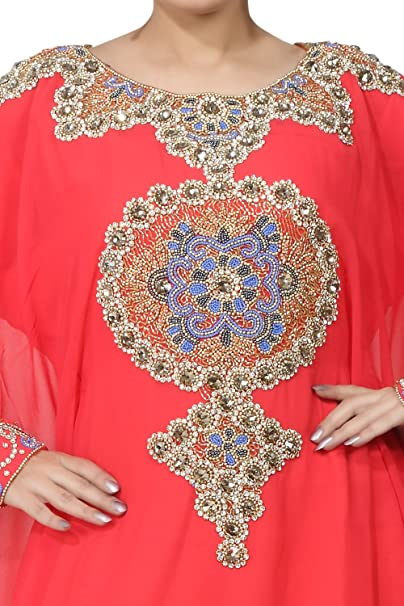 BEDIS UAE Estilo Mujer Farasha -Eid desgaste étnico-Maxi musulmana árabe Abaya Vestido Jilbab Kaftan vestido largo - Tamaño libre - Coral(KAF-2938_COR): ...