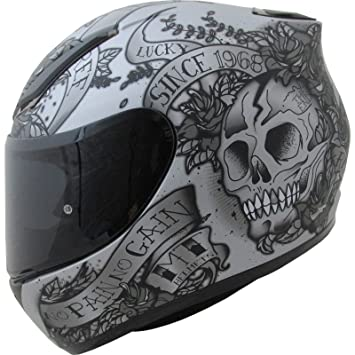 MT Revenge Skull & Roses - Casco de Moto, Grey Black, Small