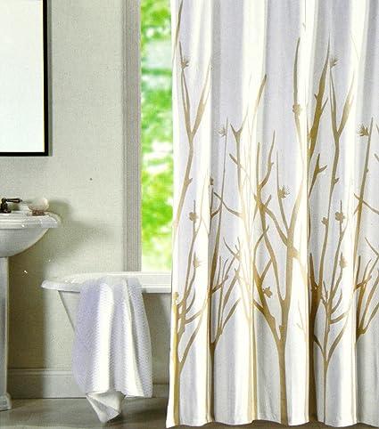 Hotel Twenty One Cotton Shower Curtain Branches Tree Tan Beige White 72 Inch By