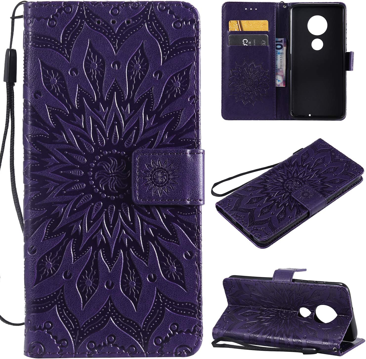 3d sunflower wallet case for motorola moto