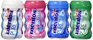 Mentos Sugar Free Gum Variety Bundle - 4 Items - (1) Bubble Fresh Cotton Candy (45 Pieces), (1) Pure White Sweet Mint, (1)pure Fresh Mint, and (1) Pure Fresh Spearmint (50 Pieces Each)