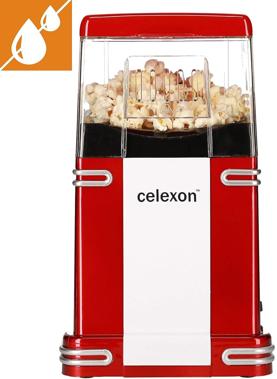 celexon máquina de palomitas de maíz sin aceite/bajo en grasa CinePop CP250-22x17,5x28,5cm - Peso: 1,3 kg - rojo/retro