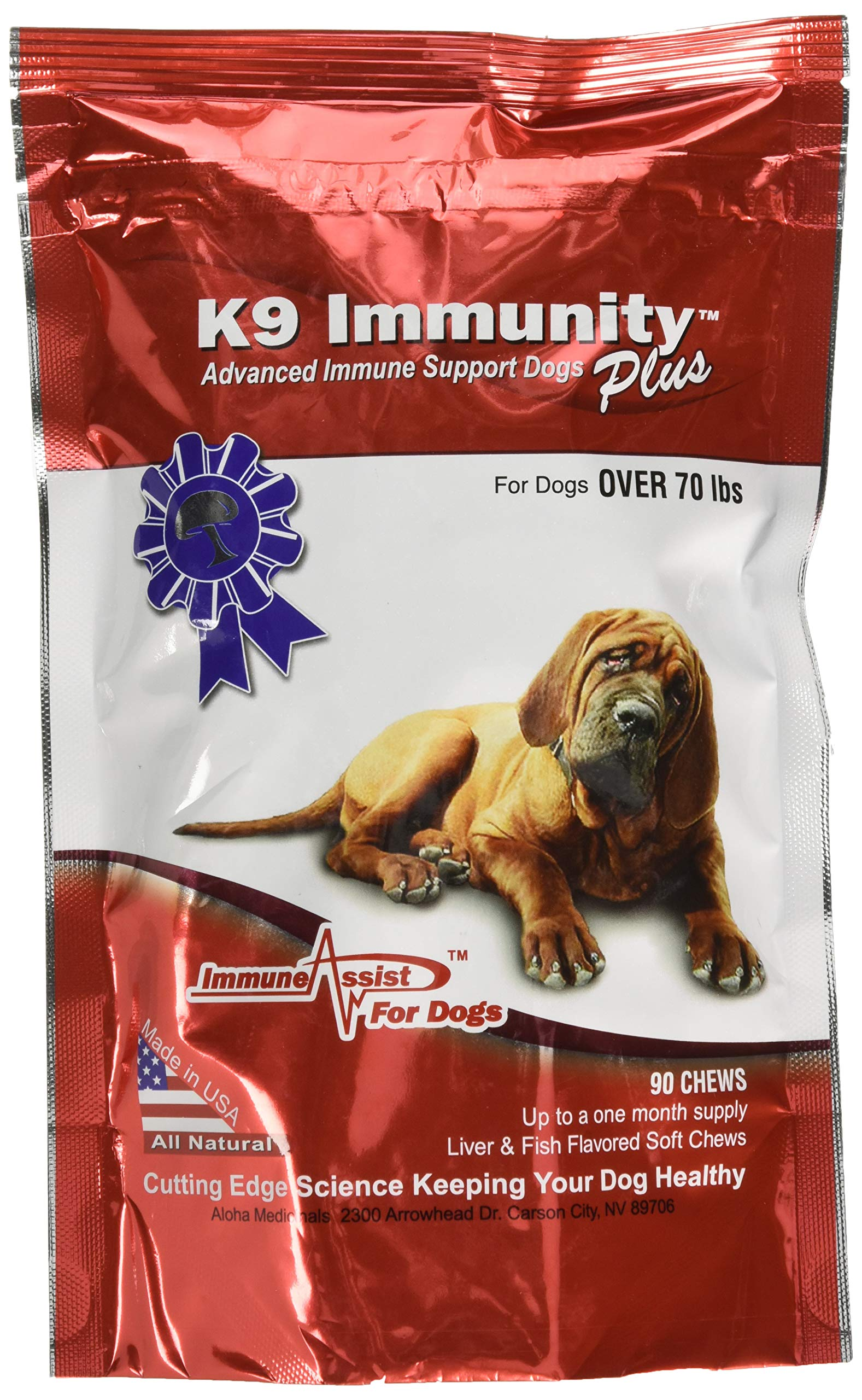 Aloha Medicinals - K9 Immunity Plus - Potent Immune Booster for Dogs Over 70 Pounds - 90 Soft Chews by Aloha Medicinals